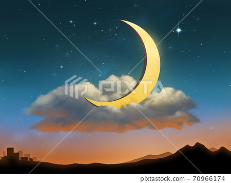 The Moon resting on a cloud 70966174