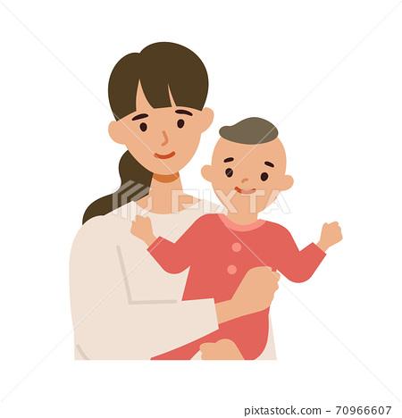 미소의 젊은 엄마와 아기의 일러스트 세트 70966607