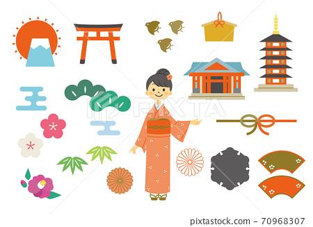 京都風格的日本材質(彩色) 70968307