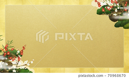 르 송죽매와 금박의 일본식 프레임 - 여러 종류가 있습니다 70968670