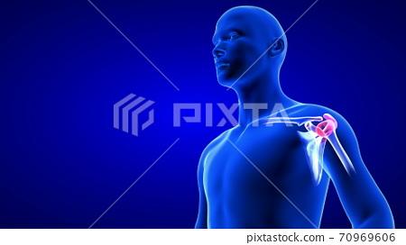 Shoulders Pain close-up illustration. Blue Human Anatomy Body 3D Scan render on blue background 70969606