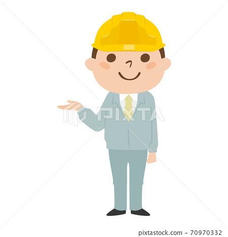 一位男性建造者的例證。用手引導他的一個年輕人佩帶的工作服和盔甲的例證。 70970332