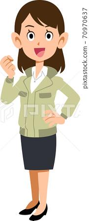一個穿著工作服的婦女膽量擺在旁邊 70970637