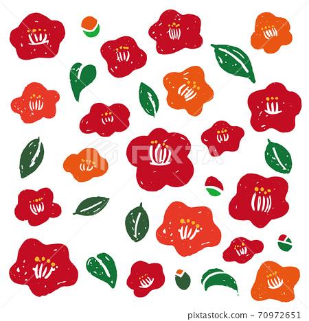 山茶花花朵和葉子的插圖 70972651