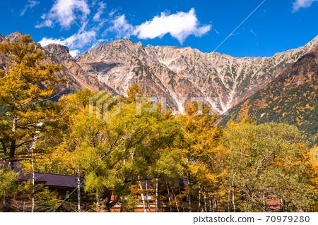 《長野縣》秋天的高地,紅葉的高峰 70979280