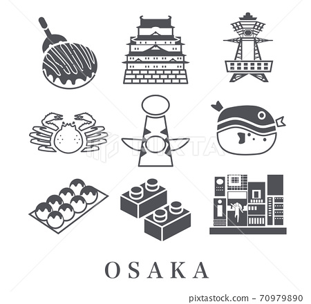 Osaka sightseeing travel icon 70979890