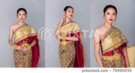 Thai Traditional Costume as National Wedding Dress, isolated white 70980036
