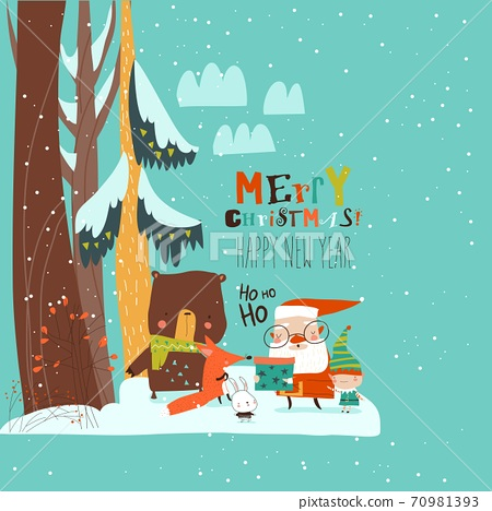 Cartoon Santa Claus with animals in the winter forest 70981393