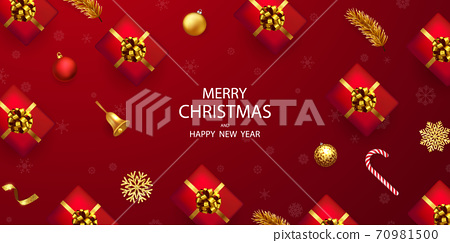 Merry Christmas and Happy New Year background. 70981500