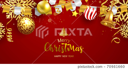 Merry Christmas and New Year Xmas background, Red santa top hat 70981660