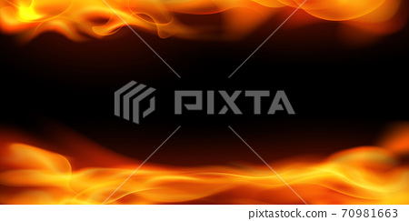 Effect burning red hot sparks realistic fire flames abstract background 70981663