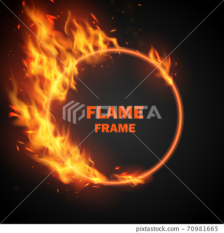 Effect burning red hot sparks realistic fire flames abstract background 70981665