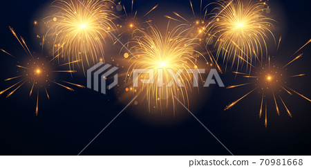 2021 Happy New Year Gold background design firework and christmas themed Celebration party 70981668