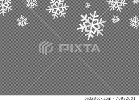 White flat snowflakes falling  from top ,Christmas decoration isolated  on png or transparent  background, space for text, sale banner template , New Year, Birthdays, illustration vector  70982601