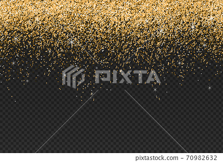 Gold glitter particles isolate on png or transparent  background with sparkling  snow, star light  for Christmas, New Year, Birthdays, Special event, luxury card,  rich style.  illustration  70982632