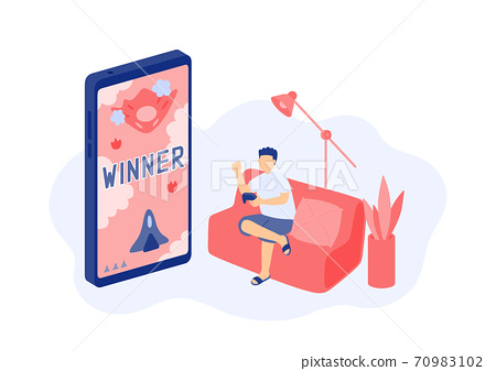 Social distancing stay at home, Miniature tiny people gaming online, Smartphone e-sport game application concept Poster or social banner design illustration on white background with copy space vector 70983102