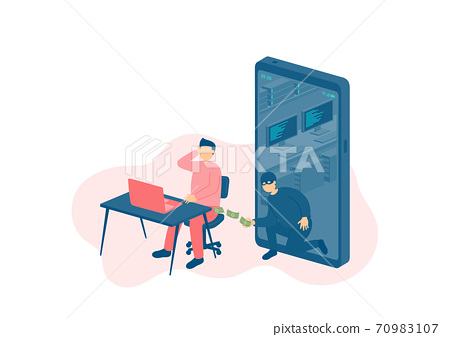Miniature man tiny people with laptop victim of cybercrime online hacker, Smartphone malware application concept design Poster or social banner illustration on white background with copy space, vector 70983107