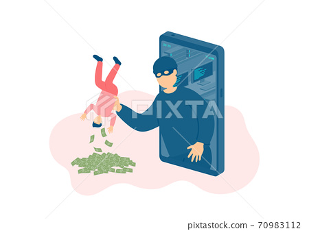 Miniature man tiny people victim of cybercrime online hacker, Smartphone malware application concept design Poster or social banner illustration on white background with copy space, vector 70983112