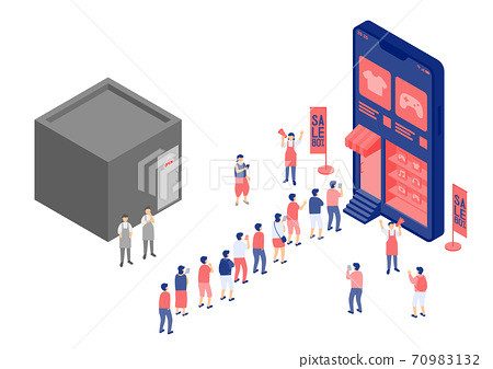 Social distancing stay at home, Miniature tiny people shopping online, Smartphone e-commerce shop application concept Poster or social banner design illustration on white background, copy space vector 70983132