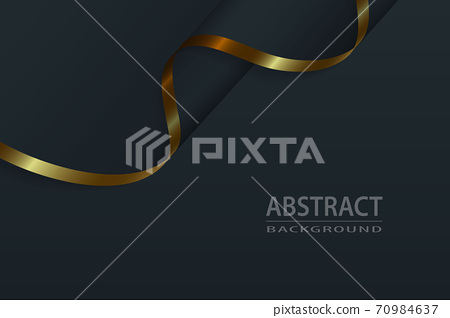 Black silk luxury background with gold elements, Wave flag vecto 70984637