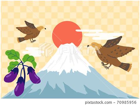 一隻富士,兩隻鷹,三種茄子,方格的背景 70985956