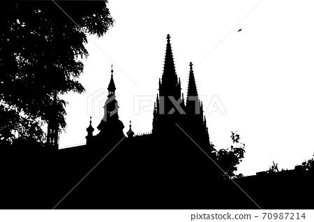 st. Vitus Cathedral in Prague. Czech. Backlit silhouette 70987214