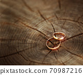 Two wedding rings lying on a wooden stump close-up. Wood cut texture 70987216