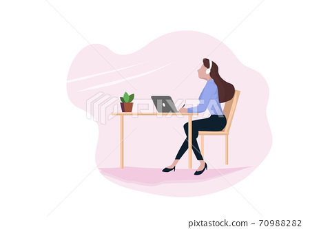 A business woman using a laptop computer sitting at a table wearing headphones To relax work process woman cartoon character flat vector illustration 70988282