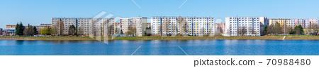 Housing estate at Mseno Reservoir. Blocks of flats at the water. Jablonec nad Nisou, Czech Republic 70988480