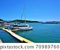 清新的濑户内海,牛市海和船 70989760
