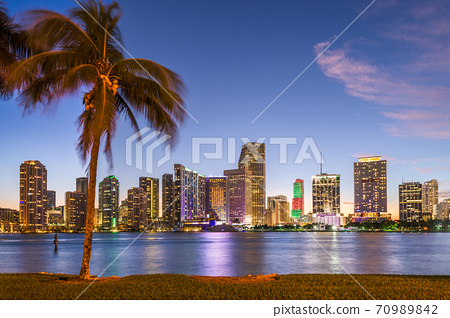 Miami, Florida, USA downtown Skyline from across 70989842