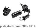Small black action camera, video recorder. 70993814