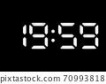 Real white led digital clock on black background 70993818