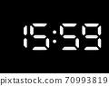 Real white led digital clock on black background 70993819