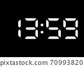 Real white led digital clock on black background 70993820