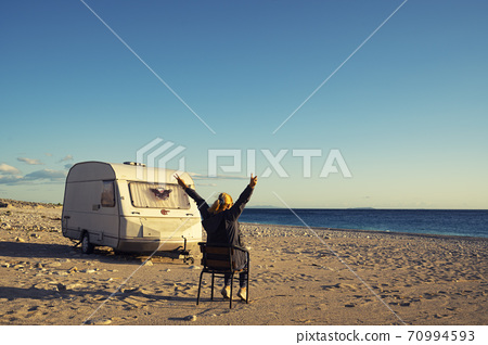 House on the wheels Camper van on the seaside, travel in vacation 70994593
