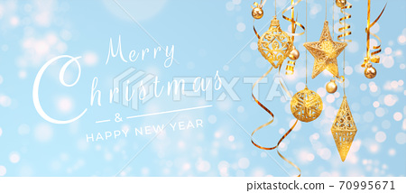 Merry Christmas postcard banner, decorations on blue background 70995671