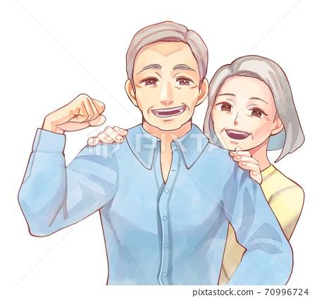 건강한 수석 커플의 일러스트 70996724