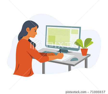 Freelance Woman is Online Working with Computer. 71000837