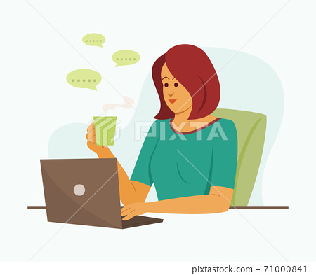 Freelance Woman is Online Working with Laptop. 71000841