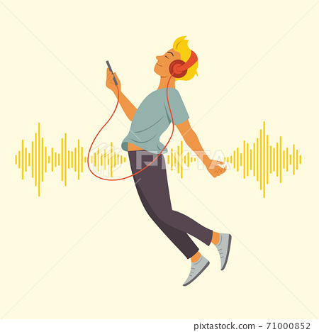 Man Enjoy Listening and Floating in the Space with Sound Wave Pattern Background. 71000852
