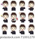 男孩穿著校服的各種面部圖案(2) 71001270