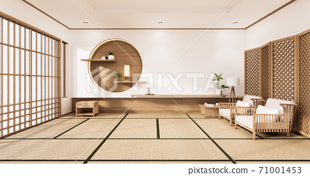 the circle wall design room Japanese - zen style,minimal designs. 3D rendering 71001453