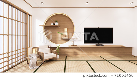 the circle wall design room Japanese - zen style,minimal designs. 3D rendering 71001456