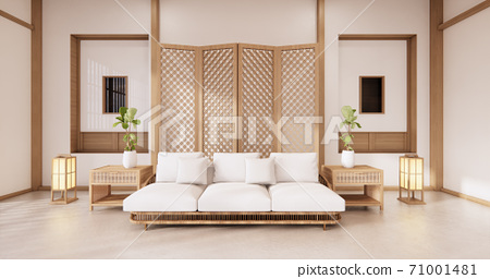 partition japanese on room tropical interior with tatami mat floor and white wall.3D rendering 71001481