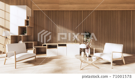 interior design has a armchair on empty room japanese design,3D rendering 71001578