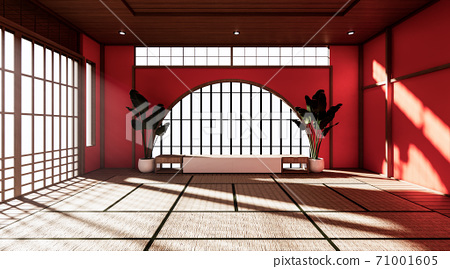 Red room is spacious design of the Japanese style  And light in natural tones. 3D rendering 71001605