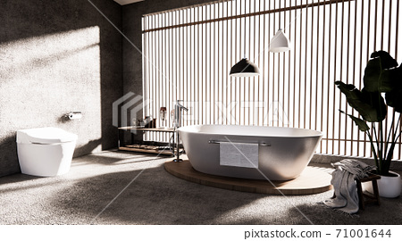 The Bath and toilet on bathroom zen style .3D rendering 71001644