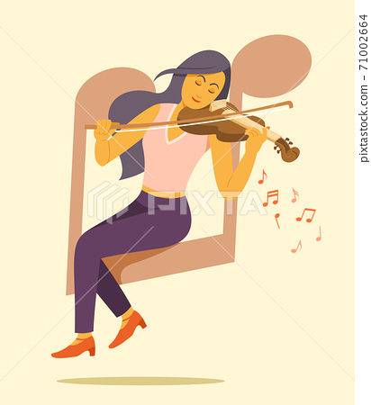 Woman Sit on the Big Music Note Symbol and Enjoy to Play Violin. 71002664