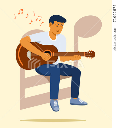 Man Sit on the Big Music Note Symbol and Enjoy to Play Guitar. 71002673